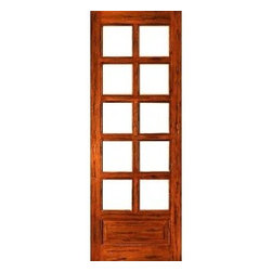 "Rustic-8-lite-P/B French Solid 1 Panel IG Glass Single Door - SKU#    Rustic-8-lite-P/B-Ext-1Brand    AAWDoor Type    FrenchManufacturer Collection    Rustic French DoorsDoor Model    Door Material    WoodWoodgrain    Tropical HardwoodVeneer    Price    480Door Size Options    24"" x 80"" (2'-0"" x 6'-8"")  $030"" x 80"" (2'-6"" x 6'-8"")  +$1032"" x 80"" (2'-8"" x 6'-8"")  +$1036"" x 80"" (3'-0"" x 6'-8"")  +$10Core Type    SolidDoor Style    Door Lite Style    3/4 Lite , 8 LiteDoor Panel Style    1 Panel , Chamfer StickingHome Style Matching    Mediterranean , LogDoor Construction    Engineered Stiles and RailsPrehanging Options    Prehung , SlabPrehung Configuration    Single DoorDoor Thickness (Inches)    1.75Glass Thickness (Inches)    1/2Glass Type    Double GlazedGlass Caming    Glass Features    Insulated , Tempered , low-E , Beveled , DualGlass Style    Clear , White LaminatedGlass Texture    Clear , White LaminatedGlass Obscurity    No Obscurity , High ObscurityDoor Features    Door Approvals    FSCDoor Finishes    Door Accessories    Weight (lbs)    340Crating Size    25"" (w)x 108"" (l)x 52"" (h)Lead Time    Slab Doors: 7 daysPrehung:14 daysPrefinished, PreHung:21 daysWarranty    1 Year Limited Manufacturer WarrantyHere you can download warranty PDF document."