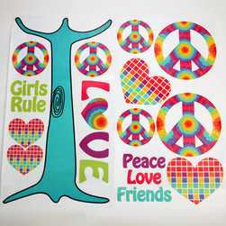 """Terrific Tie Dye - Wall Decals - Wall decals couldn't be any cuter.  Fun cut outs of the collections signature shapes in hearts and peace signs as well as fun sayings of """"love"""", """"peace"""", """"girls rule"""", and """"friends"""".  All are designed to be part of a tree (tree trunk decal included).  Be the first to make your statement with this collection!"""