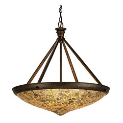 Currey and Company - Edith Pendant - This distinctive pendant is created from natural Capiz Shell. With three lights it will provide a pleasant glow for dining or ambience in any area. The wrought iron frame finished in Cupertino is a pleasing complement to the amber glow of the shade.