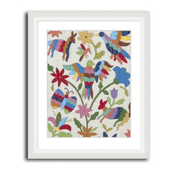 MonDeDe - Cobalt Tapestry II - Featuring a segment of a tapestry that's been rendered into a giclee print, this piece of wall art sports a flora and fauna motif that will bring a pop of color to any room. Printed on archival paper, it's guaranteed not to fade for 200 years.