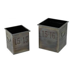 Sterling Industries - Set Of 2 Industrial Planters - Set Of 2 Industrial Planters