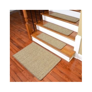 Dean Flooring Company - Dean Non-Skid Sisal Carpet Stair Treads - Desert - Set of 13 Plus Mat - Dean Attachable Non-Skid Sisal Carpet Stair Treads - Desert - Set of 13 Plus a 2' x 3' Mat : Beautiful All Natural Sisal Stair Treads by Dean Flooring Company. Color: Desert Approximately 29 inches by 9 inches. Set includes 13 stair treads plus a 2' x 3' mat. Each tread is machine serged with color matching yarn. High quality sisal natural fiber construction. Heavy duty non-skid rubber backing. Helps prevents slips on your hardwood stairs. Provides warmth and comfort. Extends the life of your hardwood stairs. Great for pets (facilitates navigation of slippery stairs). Easy do-it-yourself installation with included Double-Sided Carpet Tape. Add a touch of warmth and style to your stairs today!
