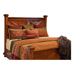 Oakwood King Coverlet Set - This beautiful Chenille pattern is enriched with deep Red, Olive and Gold tones.