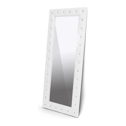 "Wholesale Interiors - Stella Crystal Tufted White Modern Floor Mirror - Stella is a glamorous designer floor mirror that takes it up a notch with allover faux crystal button tufting. Plentiful crystal lookalike buttons adorn every nook and cranny of the frame and truly glimmer with even the slightest bit of light. White faux leather covers a sturdy rubberwood frame topped with foam padding. The Malaysian-made designer floor mirror, which is fully assembled, is also available in black (sold separately). Keep an eye out for the matching bed and bed-end bench (each sold separately). To clean, wipe with a damp cloth. Internal Size: 60"" H x 20.5"" W. Dimensions: 71.25"" H x 31.25"" W x 1.5"" D."