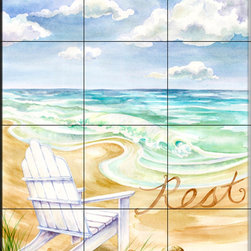 The Tile Mural Store (USA) - Tile Mural - Rest - Kitchen Backsplash Ideas - This beautiful artwork by Danielle Acerra has been digitally reproduced for tiles and depicts a chair on the beach.  Beach scene tile murals are great as part of your kitchen backsplash tile project or your tub and shower surround bathroom tile project. Waterview images on tiles such as tiles with beach scenes and sunset scenes on tiles.  Tropical tile scenes add a unique element to your tiling project and are a great kitchen backsplash  or bathroom idea. Use one or two of our beach scene tile murals for a wall tile project in any room in your home for your wall tile project.