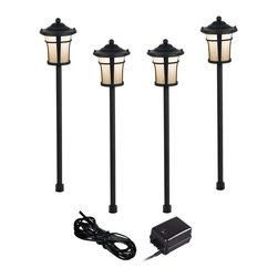 """Lamps Plus - Arts and Crafts - Mission Pierce Black 6-Piece Complete Outdoor LED Landscape Li - Give your front or backyard stylish accent lighting with this complete landscape lighting set. This kit includes four low-voltage LED path lights with white glass globes a black finish and aluminum construction. A 45-watt low voltage transformer is included which features a built-in photocell for dusk to dawn operation. A black landscape wire completes the kit so you can connect your lights bringing this set together for a spectacular look. Works with existing low voltage landscape lighting systems.  6-piece landscape set.   4 LED path lights one 45-watt low voltage transformer cable.   Black finish.   Path lights include a 1.5 watt LED.  Comparable to a 10 watt incandescent bulb.   45 watt transformer.   Built-in photo-cell for dusk to dawn operation.  Full ON mode or three AUTO settings (4 6 and 8 hours).  99 feet of cable.   Ground stakes included.  Path lights are 24"""" high 5"""" wide."""