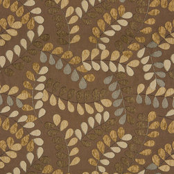 P4110-Sample - This matelasse upholstery fabric is designed with a quilted background and woven leaves on branches embroidered in the fabric. This fabric is durable, easy to clean and great for indoor upholstery.