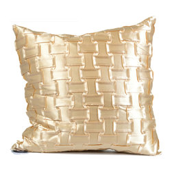 "Concepts Life - Concepts Life Hand Woven Decorative Pillow  Gold Chain - No space is complete without an element of sultry shimmer. Use the texture and shine of these pillows as an eye-popping contrast to the solid backdrop of any chair, sofa, or bed.  Hand-made Materials: Polyester cover with poly filler Spot clean Dimensions: 18""h x 18""w Weight: 1.5 lbs Pillow arrives in a vacuum sealed bag Once the pillow is aired and fluffed it will regain its full, soft and plump shape"