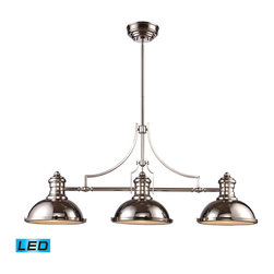 Landmark Lighting - Landmark Lighting Chadwick 66115-3-LED 3-Light Billiard/Island Light in Polished - 66115-3-LED 3-Light Billiard/Island Light in Polished Nickel - LED - 800 Lumens belongs to Chadwick Collection by Landmark Lighting The Chadwick Collection Reflects The Beauty Of Hand-Turned Craftsmanship Inspired By Early 20Th Century Lighting And Antiques That Have Surpassed The Test Of Time. This Robust Collection Features Detailing Appropriate For Classic Or Transitional decors. White Glass Compliments The Various Finish Options Including Polished Nickel, Satin Nickel, And Antique Copper. Amber Glass Enriches The OiLED Bronze Finish. - LED, 800 Lumens (2400 Lumens Total) With Full Scale Dimming Range, 60 Watt (180 Watt Total)Equivalent , 120V Replaceable LED Bulb Included Light Billiard (1)