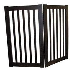 Welland - Welland 2-Panels Extra Tall Wood Panels Folding Pet Gate, 36-Inch , Espresso - This Folding Pet Gate has a folding design that makes it simple to set up and store. The panels of the Folding Pet Gate fold to allow a range in length that accommodates a wide variety of doorways and openings. The elegant pine wood used for this product looks great in any room. The height of this pet gate is low enough to step over for ease of movement from room to room!