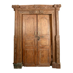 Sierra Living Concepts - Elizabethan Hand Carved Solid Teak Double Doors & Casing Frame - The doorway can make the first and most powerful statement about your home so choose a door that is exceptional. The rich and elegant Elizabethan Hand Carved Double Doors and Casing set is a slice of history and a piece of art.