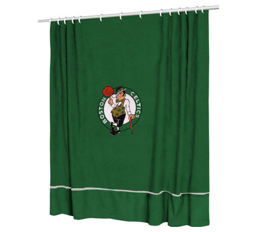 Sports Coverage - NBA Boston Celtics Basketball Bathroom Accent Shower Curtain - Features: