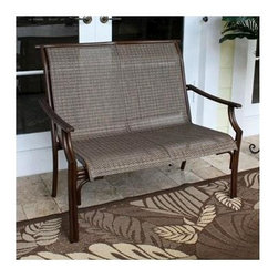 Hospitality Rattan - Chub Cay Patio Sling Loveseat in Dark Bronze - In a small or large grouping, the Chub Cay loveseat is a classic seating accent. With room for two, it offers a stylish synthetic mesh sling inset for stay-cool enjoyment. Framing is anodized aluminum that's lightweight yet rugged enough for commercial use. Made of Extruded Aluminum Frame will not rust w Twitchel fiber. Finished in a powder coated Dark Bronze finish. Extruded Aluminum Frame w Twitchel fiber. Weather and UV resistant. Frame will not rust. Fully assembled loveseat with cushions. Stackable Design. Overall: 32 in. L x 46 in. W x 37 in. H (22 lbs.)This traditional Chub Cay collection incorporates a tubular extruded aluminum frame resembling bamboo that will not rust. A custom made Twitchel Sling fiber is used in place of cushions on the seating pieces. The Chub Cay arm chairs are not only very durable, but are also stackable for easy storage. The dining table tops are tempered glass and will accommodate an umbrella. The collection also features a special aluminum slatted top on the coffee table, and the end table which work for both the Chub Cay collection and the Coco Palm Outdoor Group.