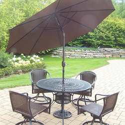 Oakland Living - 7-Pc Outdoor Round Dining Set - Includes one dining table and four swivel resin wicker chairs, 9 ft. tilt and crank umbrella and stand. Umbrella hole. Metal hardware. Fade, chip and crack resistant. Warranty: One year limited. Made from aluminum, steel and resin wicker. Black hardened powder coat finish. Minimal assembly required. Table: 48 in. Dia. x 29 in. H. Swivel chair: 25.5 in. W x 23.25 in. D x 34 in. H (24 lbs.). Overall weight: 194 lbs.This dining set is the perfect piece for any outdoor dinner setting. Just the right size for any backyard or patio. The Oakland Sunray Collection combines contemporary style and modern designs giving you a rich addition to any outdoor setting. The traditional lattice pattern and scroll work is crisp and stylish. Each piece is hand cast and finished for the highest quality possible.