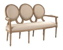 Zentique - Medallion Settee - Settle onto something truly special. This oak settee features a trio of plush medallions, with the seat and arms also upholstered in natural linen, for an elegant addition to your traditional decor.