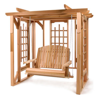 All Things Cedar - Cedar Garden Pergola Arbor - Designed with solitude in mind our Pergola is made with clear Western Red Cedar and has plenty of lattice on its well structured side panels for your vines to climb. Comes in 3 major knock-down panels and all beams are pre-drilled for easy installation. Item is made to order.