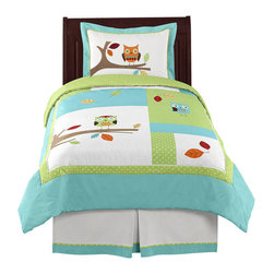 Sweet Jojo Designs - Hooty Turquoise and Lime 4-Piece Twin Bedding Set by Sweet Jojo Designs - The Hooty Turquoise and Lime 4-Piece Twin Bedding Set by Sweet Jojo Designs, along with the  bedding accessories.