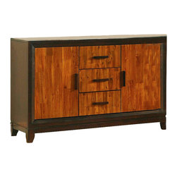 """Steve Silver Company - Steve Silver Company Abaco Buffet Sideboard in Cherry and Mahogany - Steve Silver Company - Buffet Tables and Sideboards - AB450SB - Let the Abaco Counter Height collection take center stage at your next dinner party or gathering. The dining table includes a 18"""" butterfly leaf tapered legs and a very unique finished top. The dining chairs have a beautiful two-toned finish ladder back design and tapered legs. The Abaco collection is made of great craftsmanship so that you will enjoy this collection for years to come."""