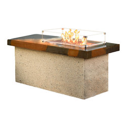 Outdoor Greatroom - Outdoor Greatroom Artisan Fire Pit Table, Copper Burner - The Artisan outdoor gas fire pit table introduces style and elegance to any patio setting - the two-tone Supercast top is perfect for entertaining family and friends. The 12 x 24 inch rectangular copper Crystal Fire burner is rated for 56,000 BTU, that will truly light up the night and add warmth to your outdoor space. This burner is made from high quality copper and includes tempered, tumbled Diamond-colored glass, an LP hose and regulator, a metal flex hose, a gas valve, and a push button igniter. With just a push of a button, a beautiful clean-burning fire appears atop a bed of highly reflective Diamond glass fire gems, simply adjust the flame height to your desired setting and enjoy the magic and ambience of a warm glowing fire. UL Listed to guarantee safety and quality. 1 Year Warranty. Optional accessories include: Vinyl Cover (CVRCF2754) Bronze / Grey Glass Burner Cover (1224-BRONZE-GLASS-COVER; 1224-GREY-GLASS-COVER); Glass Guard (GLASS-GUARD-1224); Log Set (CF20-LOG-SET).