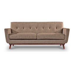 """Kardiel - Kardiel Jackie Mid-Century Modern Classic Loveseat, French Press Vintage Twill - Whether your Mid Mod design approach is the 60's themed """"Mad Men"""" or the classic """"I love Lucy"""", Jackie's profile will take you there. Perhaps you are in search of the mid-century icon that is large enough for real life. Jackie is designed to effortlessly perform mixed roles, whether you are curling up your legs for some comfortable reading time or formally hosting in black. An expansive profile is achieved by using 2 wider plump overstuffed smooth surface seat cushions without button tufting. A continuous horizontal bottom seat rail curves at each end rolling upward and outward into vertical flaring arms framing the Loveseat with continuity. A fixed cushioned low profile single piece back features one row of period correct blind tufting. Perhaps the base of Jackie is the most telling detail of the design. Whether placed in the center of the room or with its back to the wall, the solid gently curved varnished wood undercarriage adds the element of handcrafted artisan design. The wooden mid century modern flair leg is the perfect option for suspending Jackie's frame from the floor. The degree of leg flair angle was carefully measured staying authentic to this original 1950's design feature. The timeless splayed leg design with the correct degree of outward angle splay pulls all of Jackie's modernism features together capturing the true feeling of the period."""
