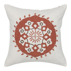 Rizzy Home - Rizzy Home Embroidered Paprika Sundance Decorative Throw Pillow Multicolor - T05 - Shop for Pillowcases and Shams from Hayneedle.com! Spice up your sofa with the Rizzy Home Embroidered Paprika Sundance Decorative Throw Pillow. Bold and colorful this cotton accent pillow has a large scale Southwestern medallion design in paprika. Embroidery work adds detail. It features a hidden zipper and includes the removable polyester insert. Machine or hand wash the cover in cold water and lay flat to dry.About Rizzy HomeRizwan Ansari and his brother Shamsu come from a family of rug artisans in India. Their design color and production skills have been passed from generation to generation. Known for meticulously crafted handmade wool rugs and quality textiles the Ansari family has built a flourishing home-fashion business from state-of-the-art facilities in India. In 2007 they established a rug-and-textiles distribution center in Calhoun Georgia. With more than 100 000 square feet of warehouse space the U.S. facility allows the company to further build on its reputation for excellence artistry and innovation. Their products include a wide selection of handmade and machine-made rugs as well as designer bed linens duvet sets quilts decorative pillows table linens and more. The family business prides itself on outstanding customer service a variety of price points and an array of designs and weaving techniques.