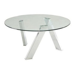 Sunpan Imports - Manhattan Round Coffee Table - Ultra contemporary round coffee table. 10mm tempered glass top. Four high shine chrome finished steel legs. Assembly required. 35.5 in. Diameter x 17 in. H (50 lbs.)