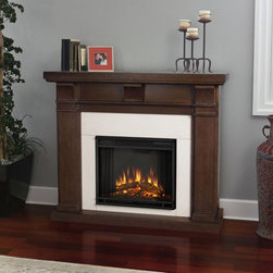Real Flame - Real Flame Porter Electric Fireplace - Vintage Black Maple - 7730E-VBM - Shop for Fire Places Wood Stoves and Hardware from Hayneedle.com! Add a spark of romance to any room with the classic Real Flame Porter Electric Fireplace - Vintage Black Maple. This electric fireplace glows with an ultra-bright Vivid Flame LED light and dynamic ember effect while remaining cool to the touch. Framing the firebox is a sturdy mantle with three arched corbels and a rich black maple finish. The fireplace plugs into any standard outlet and includes remote control thermostat and timer.About Real FlameReal Flame is the original premium gel fuel designed for use with ventless gel fireplaces and accessories. For more than 25 years Real Flame has been the leading alcohol-based gel fuel on the market. Real Flame gel is an environmentally friendly non-toxic clean-burning gel that doesn't leave any soot smoke or ashes behind - so there's no messy cleanup. Best of all Real Flame creates a robust bright yellow orange and red flame that crackles just like a log fire. Made in the U.S.A.Real Flame is made from pure premium-grade isopropyl alcohol and thickeners to enhance stability. Real Flame is the safest most viscous (thick) gel fuel available on the market. It is not liquid and will not break down separate or liquefy as quickly as other brands. To maintain the integrity and stability of Real Flame all Real Flame gel cans are specially treated to prevent rusting on the inside. Environmentally FriendlyReal Flame is a safe clean-burning gel that is regularly tested by numerous independent labs. Air-quality results while burning Real Flame gel fuel fall well below the standards established by the Occupational Safety and Health Administration (O.S.H.A.) and the Environmental Protection Agency (E.P.A.). Each batch of Real Flame gel fuel production is closely monitored to ensure the highest quality. EfficiencyEach can of Real Flame gel fuel is designed to burn for up to 2.5 to 3 hours. If you wish to create a fire for a shorter period simply extinguish the flame and re-cap the can. Reuse any remaining gel fuel for your next fire. For each fire you may use one to three cans of gel fuel at a time depending on the size of fire you wish to create. When compared to cartridge-style cans one can of Real Flame gel fuel is available at a fraction of the cost. Growing PopularityMillions of consumers can't be wrong. Loyal customers have made Real Flame the leading gel fuel on market today. Don't be fooled by unscientific consumer polls. Real Flame is the original and best-selling gel fuel available and has been on the market the longest. Never settle for any other gel fuel in your Real Flame fireplace or accessories.