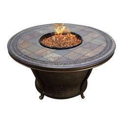 "Agio - Agio Tempe 48"" Round Slate Top Gas Fire Pit Table - The Agio Tempe Gas Fire Pit is a perfect way to enhance you backyard! It is a beautiful addition to any living space, without compromising your budget. The round shape of this elegant fire pit blends seamlessly with any decor, and it will be a great place for your guests to gather! The Tempe Fire Pit Table produces up to 40,000 btu's.  Hidden Control Panel - High / Medium / Low. Electronic Ignition. All-weather porcelain tile reminiscent of Old World Stone. Lava rock, glass beads or logs can be purchased separately."