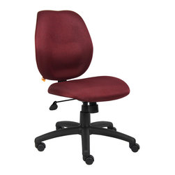 "Boss Chairs - Boss Chairs Boss Burgundy Task Chair - Mid-back styling with firm lumbar support. Elegant styling upholstered with commercial grade fabric. Sculptured seat cushion made from molded foam that contours to the shape of your body. Ratchet back height adjustment mechanism which allows perfect positioning of the back cushion and lumbar support. Large 27"" nylon base for greater stability. Pneumatic gas lift provides instant height adjustment of the seat. Adjustable tilt tension that accommodates all different size users. Hooded double wheel casters. Upright locking position."