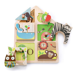 Alphabet Zoo Match & Play Puzzle - This sweet puzzle features letters and animals, inner and outer shapes, and matching skills too — all that packed into one toy!