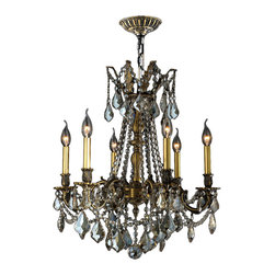 "Worldwide Lighting - Windsor 6 Light Bronze Finish Golden Teak Crystal Cast Brass Chandelier 23"" D - This stunning 6-light Cast Brass Chandelier only uses the best quality material and workmanship ensuring a beautiful heirloom quality piece. Featuring a solid cast brass frame in antique bronze finish and all over golden teak (translucent champagne color) crystal embellishments made of finely cut premium grade 30% full lead clear crystals, this chandelier will give any room sparkle and glamour. Worldwide Lighting Corporation is a privately owned manufacturer of high quality crystal chandeliers, pendants, surface mounts, sconces and custom decorative lighting products for the residential, hospitality and commercial building markets. Our high quality crystals meet all standards of perfection, possessing lead oxide of 30% that is above industry standards and can be seen in prestigious homes, hotels, restaurants, casinos, and churches across the country. Our mission is to enhance your lighting needs with exceptional quality fixtures at a reasonable price."