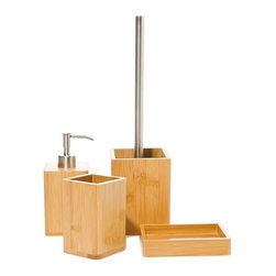 Gedy - Bambu Natural Wood Bathroom Accessory Set - Stylish, trendy bathroom accessory set which includes toothbrush holder, toilet brush holder, soap dispenser, and soap dish.