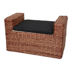 Oriental Furniture - Rush Grass Storage Bench - A beautifully crafted, rustic design storage bench, great for a window seat or storage trunk in practically any room. Built with a kiln dried wood frame and woven water hyacinth rush grass in an attractive rattan style design. The foam cushion is upholstered with an attractive Japanese style black fabric; the inside is lined with a lovely white fabric. Part of an exceptionally attractive collection of unique woven rush grass decorative accessories. Features: -Dual purpose window seat or upholstered bench and a large storage trunk.-Beautiful rattan style design with wonderfully textured woven rush grass.-Lots of room for storage inside, lined with fine cotton fabric.-Wood construction.-Practical design with hinged lid, finished with a black fabric covered foam cushion.-Distressed: No.-Collection: Rush Grass.Dimensions: -Seat dimensions: 26.5'' W X 14'' D.-Overall Product Weight: 11lbs.