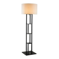 Adesso - Black Floor Lamps: Rhinebeck 62 in. Black Shelf Floor Lamp 6288-01 - Shop for Lighting & Fans at The Home Depot. The stylish and smartly designed Rhinebeck Floor Lamp will make the perfect addition to your living space. With storage and display space, Rhinebeck offers you maximum use and a great design. The body is made of black MDF wood and has three shelves that create four areas for display or small storage. The white poly/cotton drum shade is K/D, which helps to reduce the shipping cube. Its cord extends from the socket and is secured to one of the side poles by four plastic clips. Easy to use on/off pull-chain switch. The lamp takes one 150-Watt incandescent or equivalent CFL bulb.