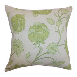 The Pillow Collection - Lalomalava Floral Pillow Spring Green - Make your home lively and pleasing by adding this pretty floral pillow. This accent pillow comes with a refreshing floral print pattern in spring green and set against a white background. This charming accent pillow gives off a homey vibe which is perfect for your living room or bedroom. The fabric used in making this square pillow is soft and durable. Its material is a blend of 55% linen and 45% rayon fabric. Hidden zipper closure for easy cover removal.  Knife edge finish on all four sides.  Reversible pillow with the same fabric on the back side.  Spot cleaning suggested.