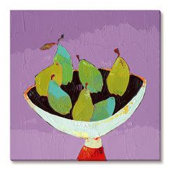 Gallery Direct - Trevor Mikula's 'Bowl of Pears' Gallery Wrapped Canvas, 30x30 - Trevor Mikula's playful style is sure to delight. This striking giclee print on canvas comes ready to hang. The perfect way to add character and depth to your room, it is printed using archival inks and artist grade canvas.