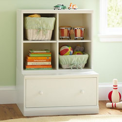 Cameron Cubby & Drawer Base | Pottery Barn Kids - This simple, multifunctional piece of furniture makes room for both large toys (drawer) and small toys (baskets), as well as a few books. It's perfect for a toddler in a smaller space.