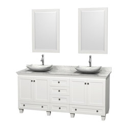"Wyndham Collection - 72"" Acclaim White Double Vanity w/ White Carrera Top & White Carrera Marble Sink - Sublimely linking traditional and modern design aesthetics, and part of the exclusive Wyndham Collection Designer Series by Christopher Grubb, the Acclaim Vanity is at home in almost every bathroom decor. This solid oak vanity blends the simple lines of traditional design with modern elements like beautiful overmount sinks and brushed chrome hardware, resulting in a timeless piece of bathroom furniture. The Acclaim comes with a White Carrera or Ivory marble counter, a choice of sinks, and matching mirrors. Featuring soft close door hinges and drawer glides, you'll never hear a noisy door again! Meticulously finished with brushed chrome hardware, the attention to detail on this beautiful vanity is second to none and is sure to be envy of your friends and neighbors"