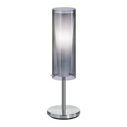 Eglo - Eglo 90308A 1 Light Table Lamp Pinto Nero Collection - Eglo 90308A Pinto Nero 1 Light Table LampMysterious and elegant, this table lamp from the Pinto Nero Collection features a cone shaped white glass shade shrouded in a smoked glass cylinder. The Matte Nickel Finish of the hardware simply adds to the elegant look of this fixture.Eglo 90308A Features: