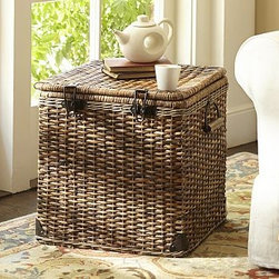 "Daytrip Lidded Split Rattan Basket, Cube - Skilled craftsmanship is evident in the intricate weaving of our rattan basket, which was inspired by vintage automobile trunks. 18"" square, 18.5"" high Made of handwoven split malacca and natural rattan. Iron sheet metal with a bronze finish. Iron sheet metal hardware with a bronze finish."