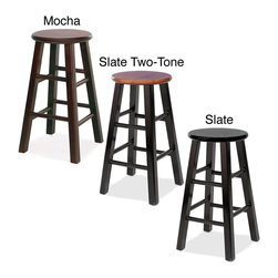 KD Furnishings - Round Wood Counter Stools (Set of 2) - These sturdy stools are constructed of heavily scaled solid wood and finished in a rich,mocha.  The round stools require only a small amount of floor space and are perfect for apartments,condos and other small living spaces.
