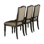 Homelegance - Homelegance Marston Side Chair w/ Neutral Tone Fabric Cover in Dark Espresso - Refined elegance is exemplified in the design of the Marston Collection. A double pedestal base rises to support the clipped-corner rectangular tabletop. The 96-inch table is flanked by chairs that feature turned front legs and nailhead accent, along with a neutral tone fabric that covers the seats and backs. Standing tall in support of the collection is the functional china. Featuring drawer and door storage, with oval bale pull and knob hardware, you can be assured of plentiful space in which to stow or display your tabletop accessories.