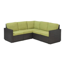 HomeStyles - 5-Seater Outdoor L-Shaped Sofa (Green Apple) - Color: Green AppleSeat and back cushions in green apple color. Rust-resistant, powder-coated aluminum frame. 100% recyclable, moisture and weather resistant, low maintenance. Shaped legs with adjustable levelers to accommodate uneven surfaces. Bolted together for additional support and sturdiness. Polyurethane cushions with polyester fiber wrap. Stain resistant, fade resistant and water repellent fabric. Requires very little maintenance. Made from cycroplene. Deep brown color with a gold streak design. Made in Indonesia. Assembly required. 82 in. L x 29.5 in. W x 34.5 in. H. Warranty