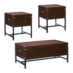 Holly & Martin - Holly & Martin Yorkshire Trunk Table Collection - This trunk table collection offers a stylish, space-saving alternative to the traditional table set. This beautiful trunk set offers great hidden storage and a stylish new take on home furnishings. The warm espresso finish and metal accents work in both modern and traditional homes. The versatility of this collection doesn't stop there, because it's also an amazing set to work into any bedroom! With a spacious hidden storage compartment and a restyled antique design, this end table is not only beautiful, but functional as well. Studded accents line the edges of this sleek living room table to give it an extra element of design. A metal handle on either end of this table make moving it easy as well, so try it in your living room or even at your bedside for a new look. You may also pair this end table with the matching cocktail table for a complete update. This exquisite collection includes cocktail table and two end tables.