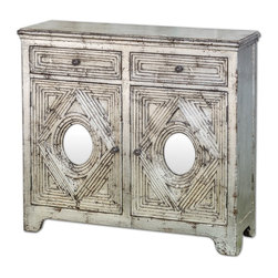 Uttermost - Emrick Console Cabinet - Distressed silver leafing and antiqued mirrors accent the style of this Spanish colonial cabinet with two dovetail drawers, one interior shelf and solid brass hardware.