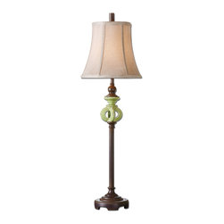 Uttermost - Civita Green Glaze Buffet Lamp - Your friends will see green the second they spot this antiqued crackled green glaze lamp sitting on your side table. The unusual green base motif gives it a distinct style that will enhance any decor.