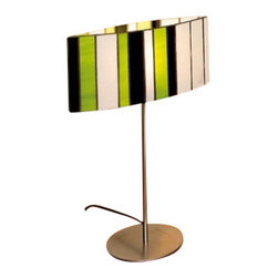 """Arturo Alvarez - Arturo Alvarez Sophi table lamp - The Sophie table lamp from Arturo Alvarez was designed by Arturo Alvarez and made in Spain. The Sophie table lamp is two opposite curves that close towards the interior, gathering up light and throwing it outwards. A special and unique combination of colors in a shade joined in a peculiar way.   Products description: The Sophie table lamp from Arturo Alvarez was designed by Arturo Alvarez and made in Spain. The Sophie table lamp is two opposite curves that close towards the interior, gathering up light and throwing it outwards. A special and unique combination of colors in a shade joined in a peculiar way. Details:                         Manufacturer:                         Arturo Alvarez                                         Designer:                         Arturo Alvarez - 2004                                         Made  in:            Spain                            Dimensions:                         Height: 17"""" (43.2cm) X Width: 12"""" (30.5cm)                                                     Light bulb:                                      1 X 60W E12 Candelabra                                         Material                         Metal, glass"""