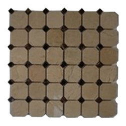 Sample - Octagon Crema Marfil & Dark Emperador - sample-OCTAGON CREMA MARFIL WITH DE DOT GLASS TILE 1/4 SHEET SAMPLE  SAMPLE  INSTANT UPGRADE to priority shipping when�2 or more samples are purchased. Samples are intended for color comparison purposes, not installation purposes.    -Glass Tile -