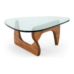 Duboce Coffee Table in Walnut - Modern design brings together different styles for an aesthetic all its own. Here, the sculptural legs provide a foundation for an ethereal glass tabletop. The combination of sturdiness and elegance makes this coffee table the perfect finishing touch for your own modern home or office.