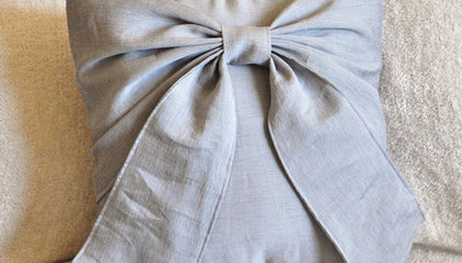 Gray Decorative Pillow Grey Big Bow Pillow 14x14 by bedbuggs
